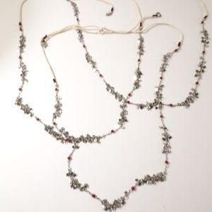 Antropologie Star Cluster Red bead Necklace set 3